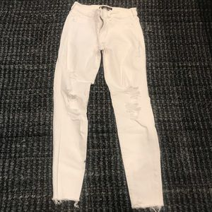 Abercrombie Distressed White Jeans